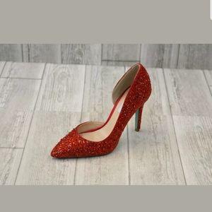 Betsey Johnson Hazil red rhinestone pumps